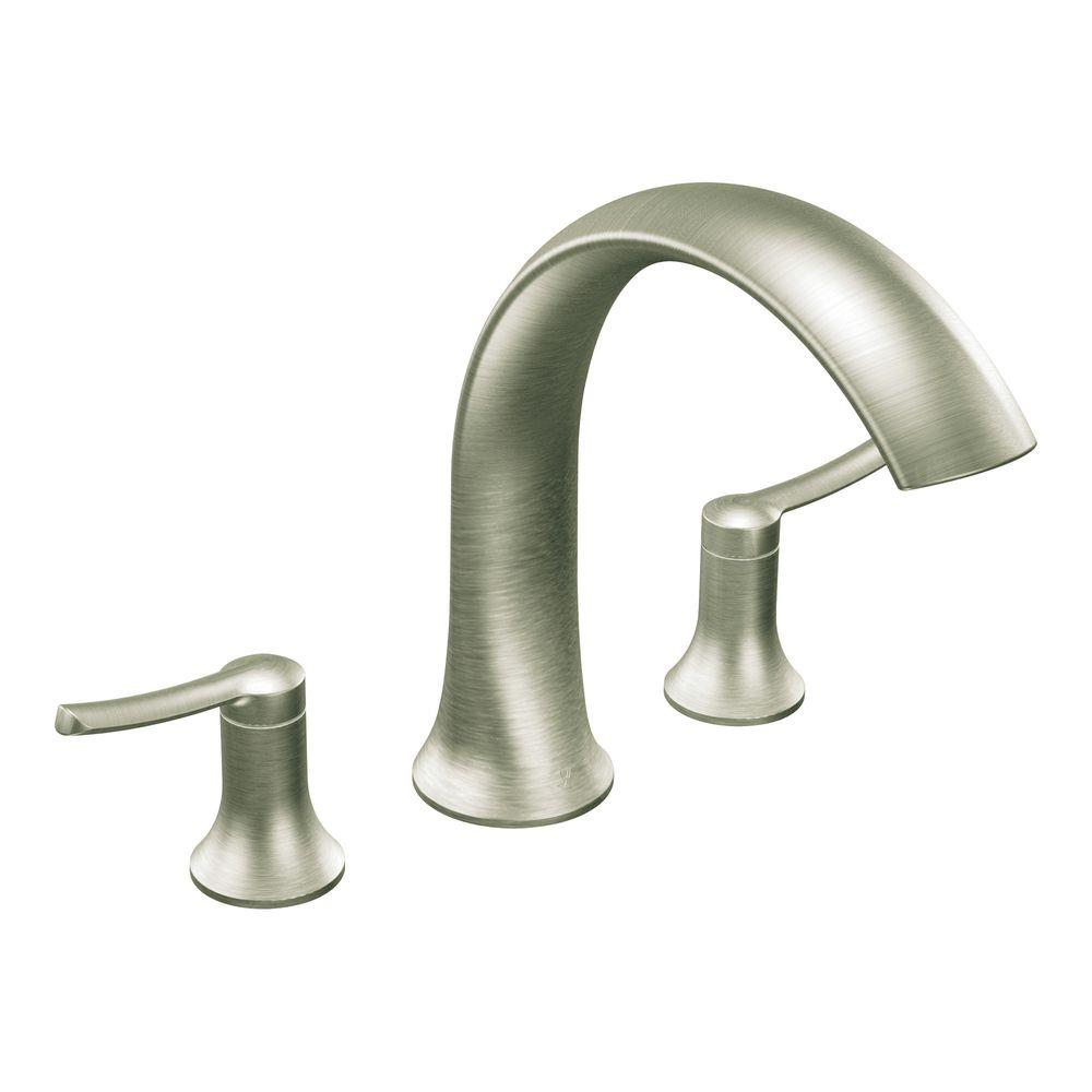 MOEN Fina 2-Handle Deck-Mount Roman Tub Faucet Trim Kit in Brushed ...