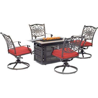Traditions 5-Piece Aluminum Patio Seating Set with Autumn Berry Cushions, Fire Pit Table and 4 Swivel Rockers