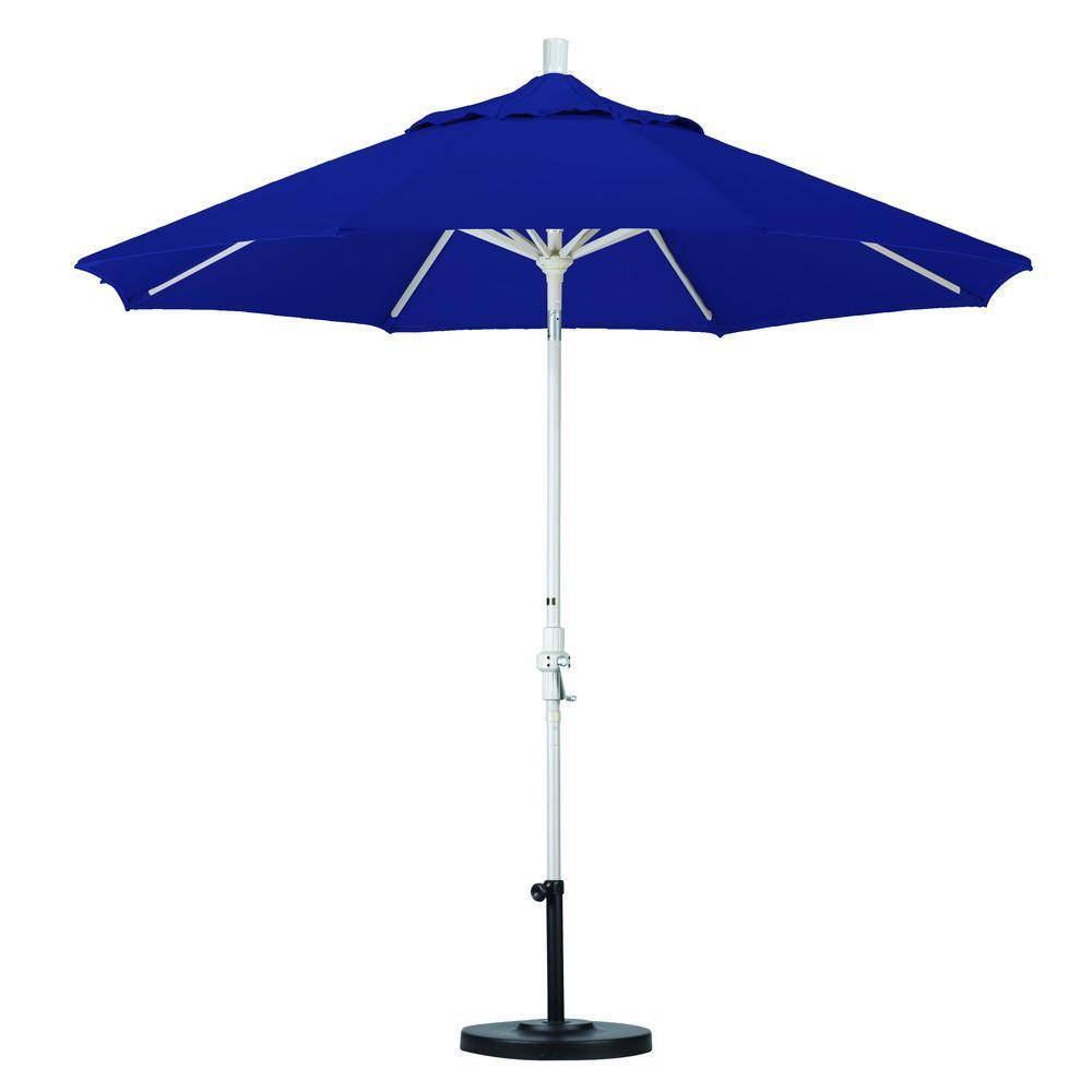 California Umbrella 9 ft. Aluminum Collar Tilt Patio Umbrella in Navy Blue Olefin