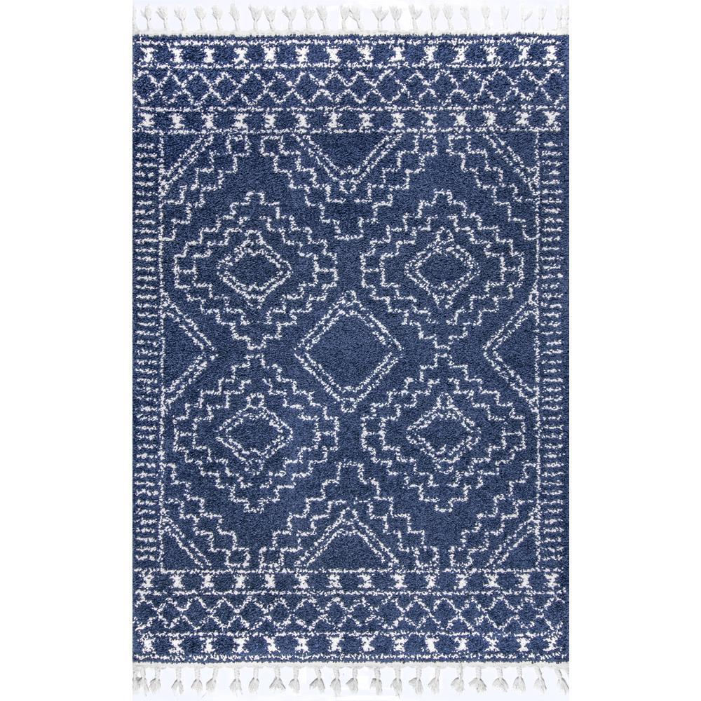 Vasiliki Moroccan Tassel Shag Blue 7 ft. x 9 ft. Area Rug