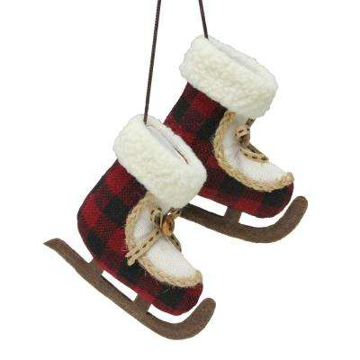 4 in. (100 mm) Plush Plaid Old Fashioned Ice Skates Christmas Ornament