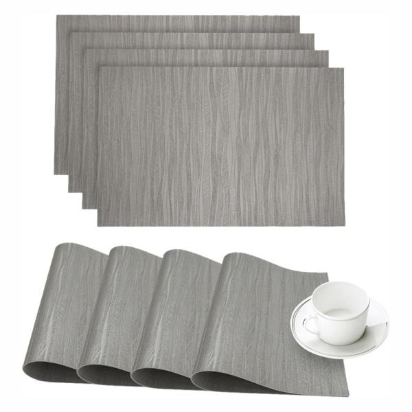 Dainty Home Forest Silver Faux Leather Placemat (Set of 4) 4FORPMSI