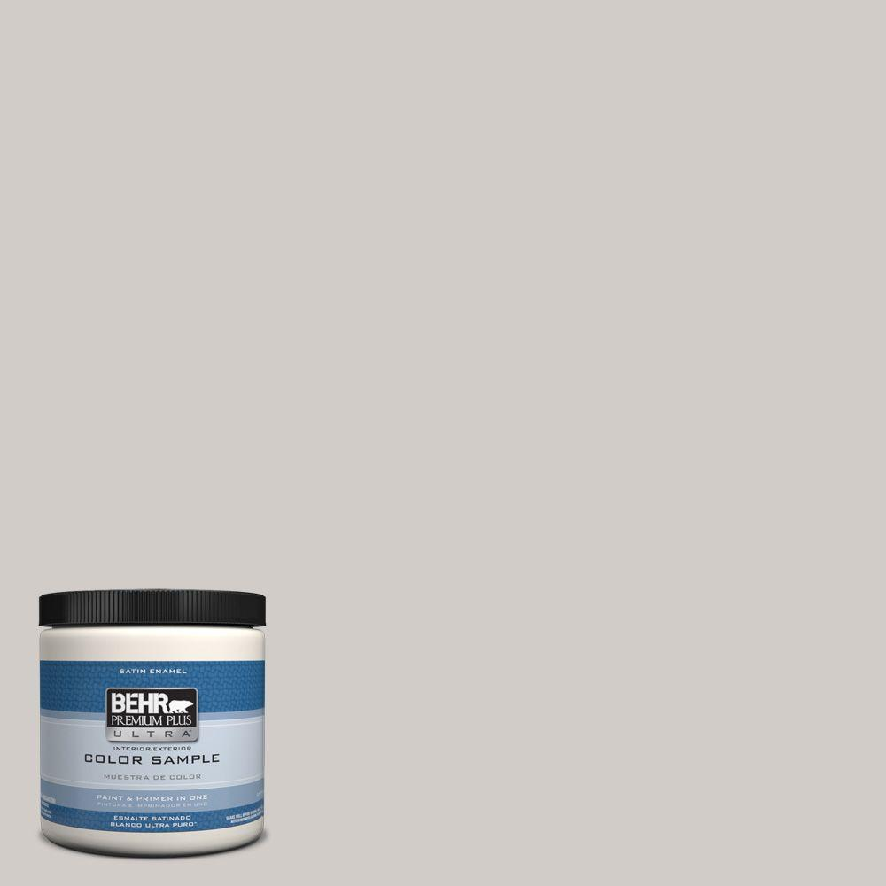 behr premium plus ultra 8 oz hdc nt 20 cotton grey interior exterior satin enamel paint sample. Black Bedroom Furniture Sets. Home Design Ideas