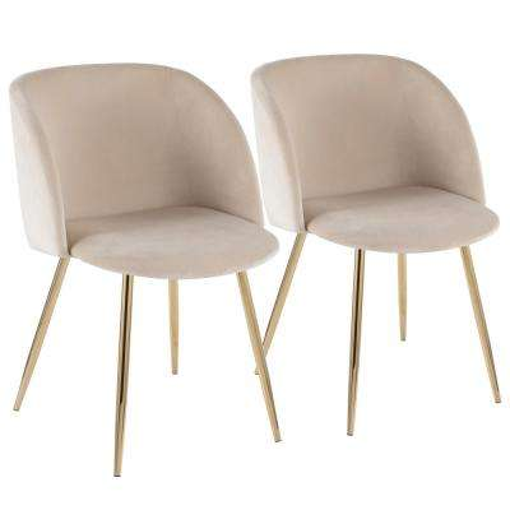 Fran Cream Velvet and Gold Chair (Set of 2)