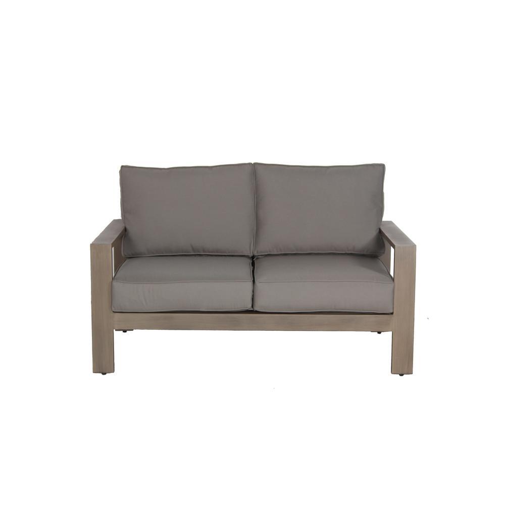 Envelor Aruba Patio Aluminum Outdoor Loveseat with Sunbrella Spectrum Grey Cushions