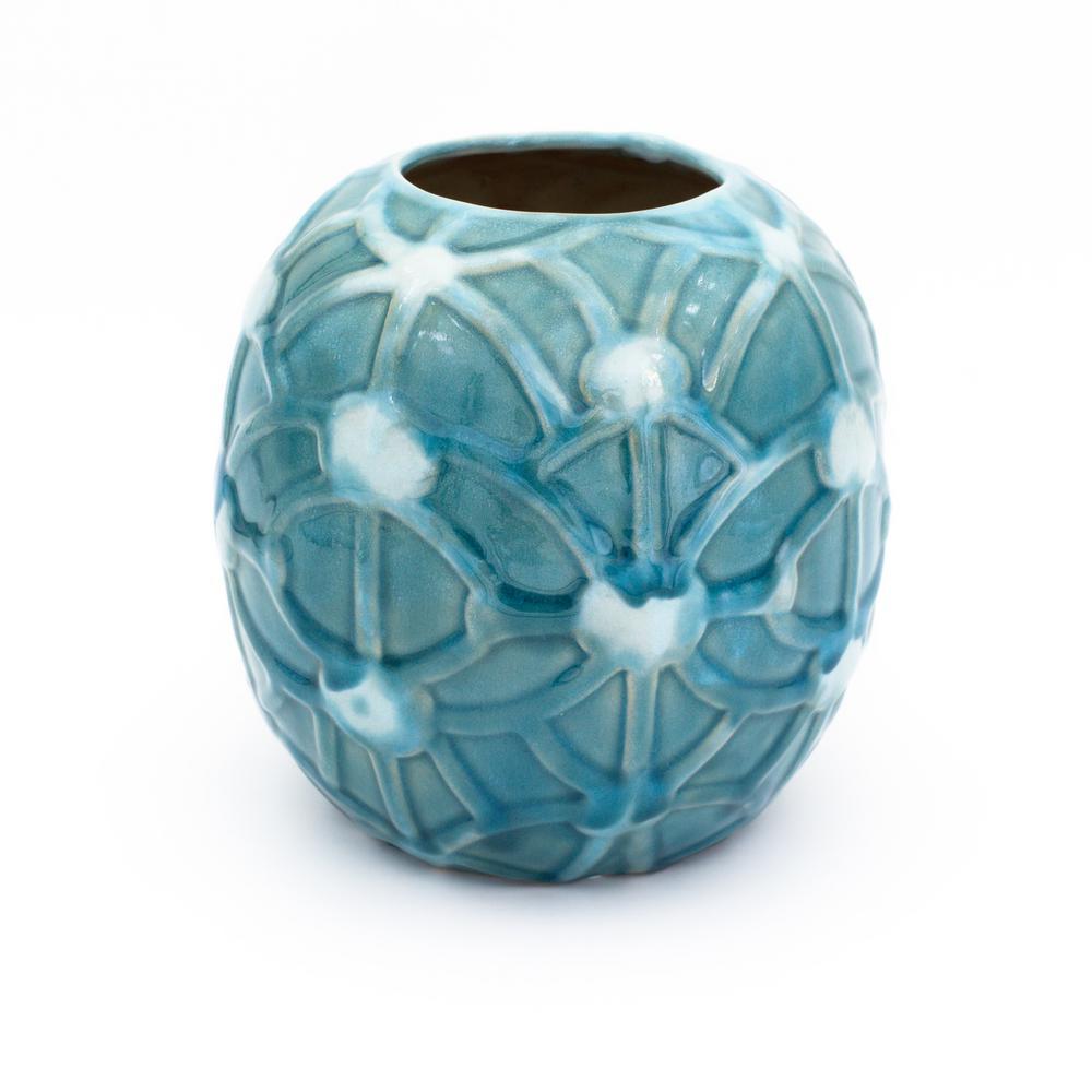 Grotto Aqua Rope Emboss Round Vase