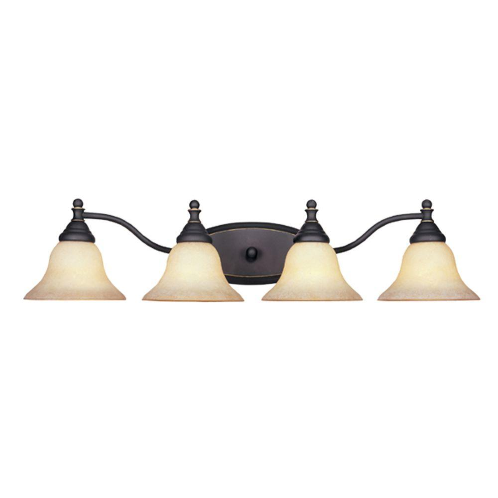 Designers Fountain Ellsworth Collection 4-Light Aged Bronze Wall Mount Patina Vanity Light