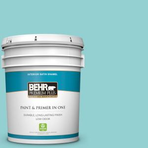 Behr Premium Plus 5 Gal M460 3 Big Surf Satin Enamel Low Odor Interior Paint And Primer In One 705005 The Home Depot