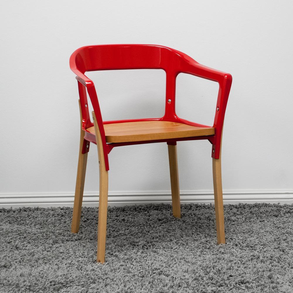 Miraculous Mod Made Jasper Red Steel Wood Modern Dining Side Chair Mm Beatyapartments Chair Design Images Beatyapartmentscom