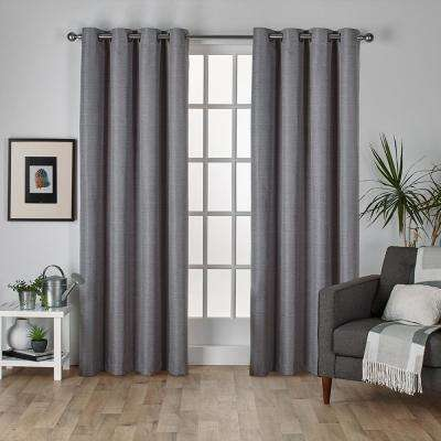 Raw Silk 54 in. W x 96 in. L Woven Blackout Grommet Top Curtain Panel in Black Pearl (2 Panels)