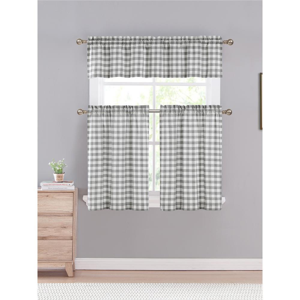 Kingston 58 in. W x 15 in. L in Kitchen Curtain in Tiers /Grey 3-Piece