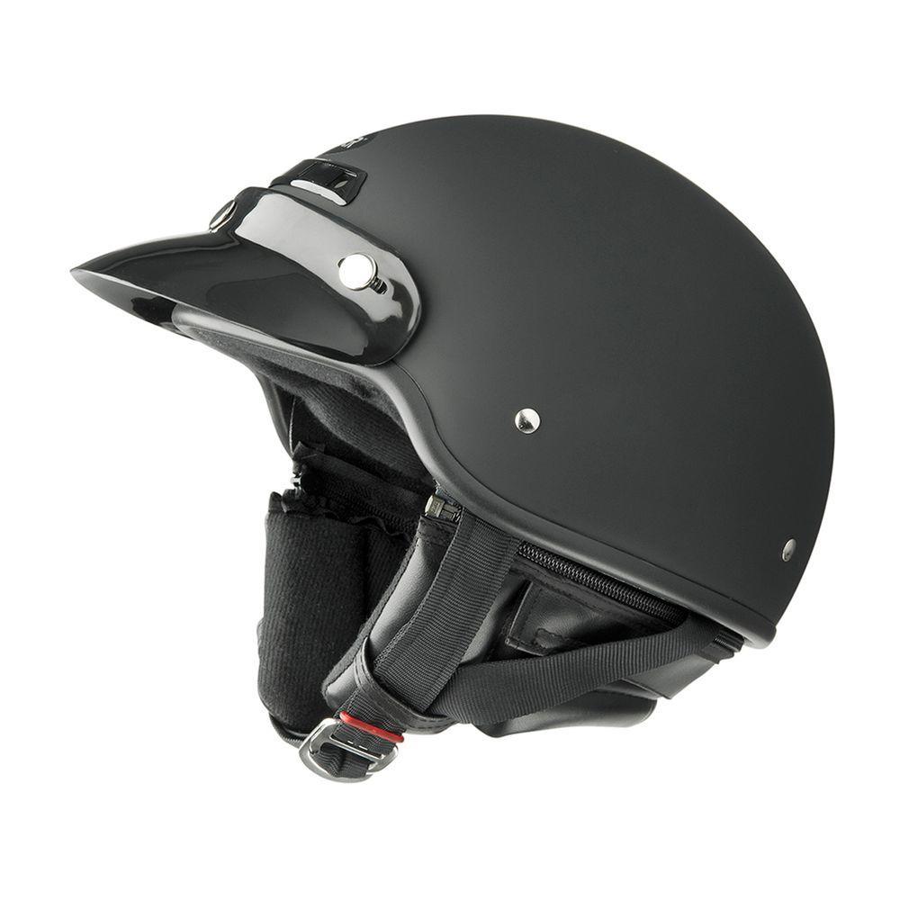 Raider X-Large Adult Deluxe Flat Black Half Helmet