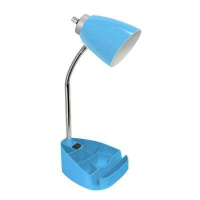 18.5 in. Gooseneck Organizer Desk Lamp with Holder and Charging Outlet, Blue