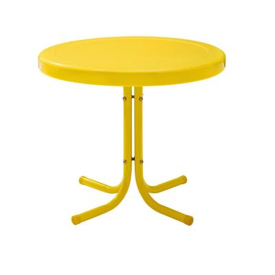 Retro Metal Yellow Round Metal Outdoor Side Table