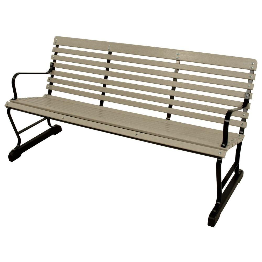 Black And Sand Patio Bench