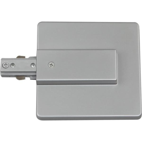 Silver Gray Live End J-Box Feed/Live End Connector for 120-Volt 1-Circuit/1-Neutral Track Systems