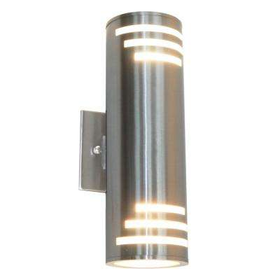 2-Light Stainless Steel Outdoor Wall Mount Sconce