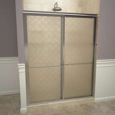 1100 Series 59 in. W x 71-1/2 in. H Framed Sliding Shower Doors in Polished Chrome with Towel Bars and Obscure Glass