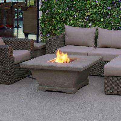 Monaco 42 in. Fiber-Concret Square Propane Gas Fire Pit in Glacier Gray