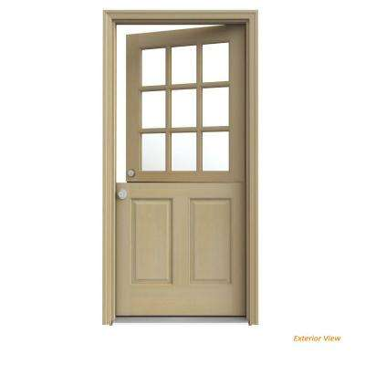 32 in. x 80 in. 9 Lite Unfinished Wood Prehung Right-Hand Inswing Dutch Front Door with AuraLast Jamb and Brickmold