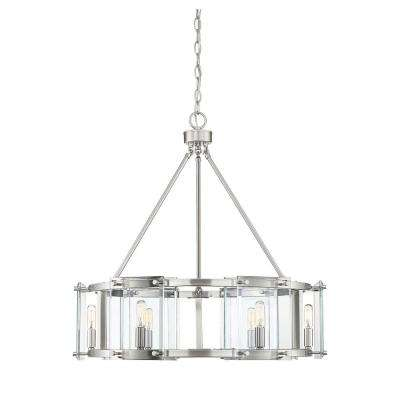 6-Light Satin Nickel Pendant with Clear Glass