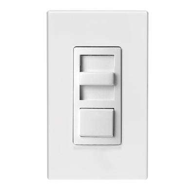 1200VA, 120/277-Volt AC 60Hz, Single-Pole and 3-Way, IllumaTech Preset Fluorescent Slide Dimmer, White