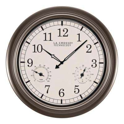 18 in. Thermometer and Hygrometer Indoor/Outdoor Quartz Wall Clock