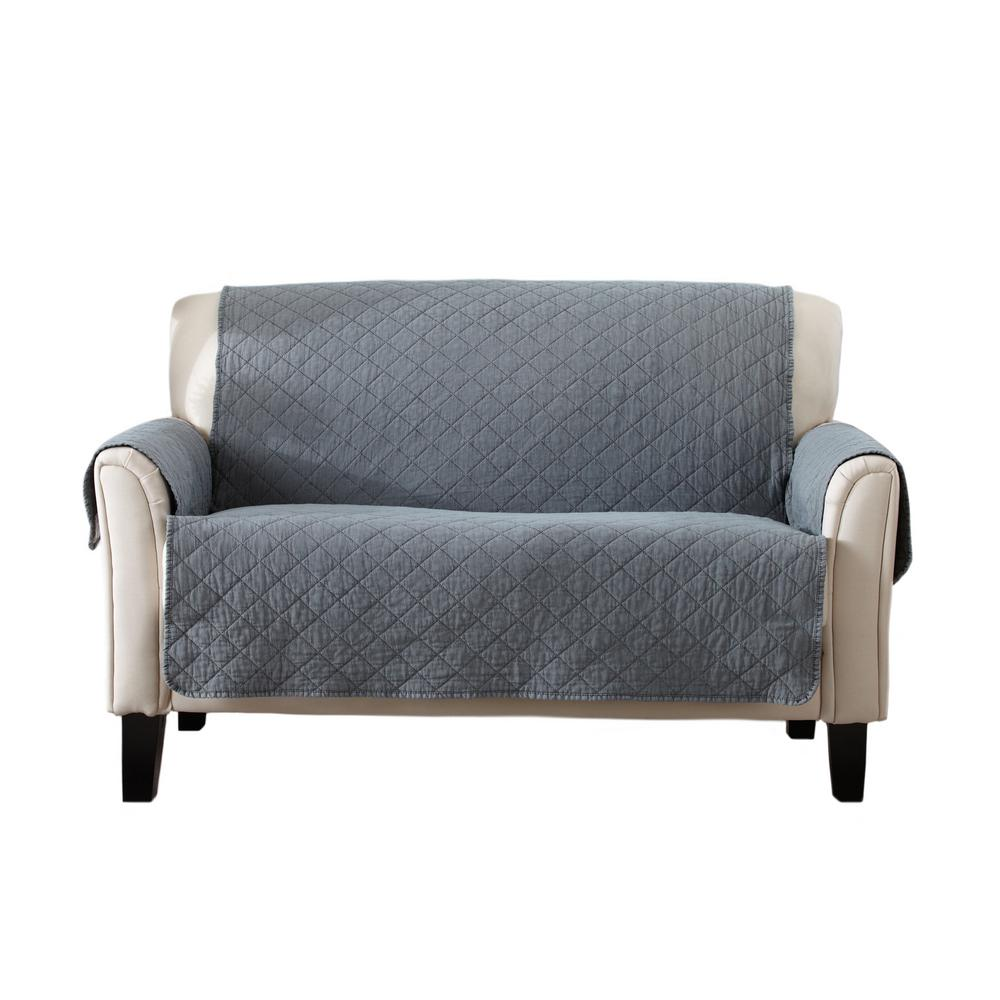 grey and tufted loveseat dark slipcover cushion t cover sofa