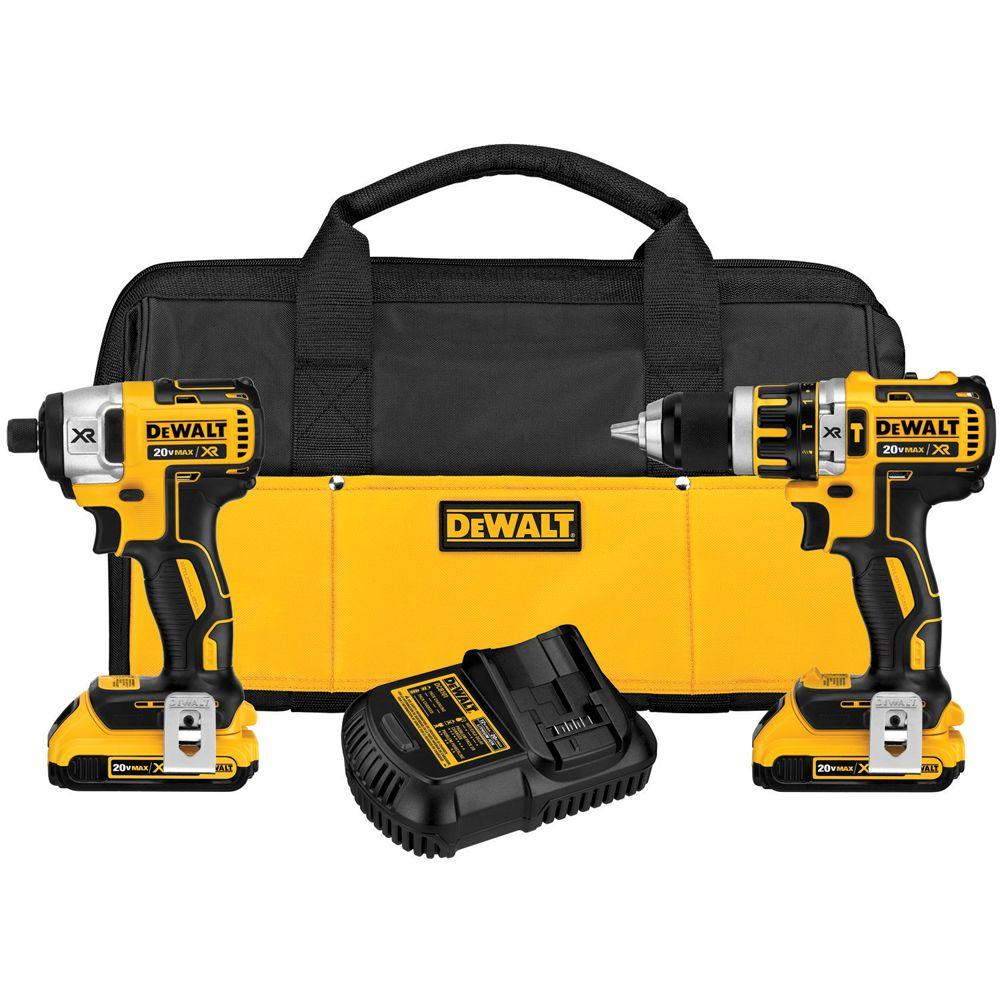 DEWALT 20-Volt Max XR Lithium-Ion Cordless Compact Brushless Hammer Drill/Impact Combo Kit (2-Tool)