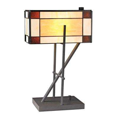 Fort William Tiffany Glass 20 in. Matte Black Table Lamp