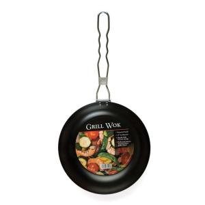 Charcoal Companion Non-Stick Round Wok with Folding Handle by Charcoal Companion