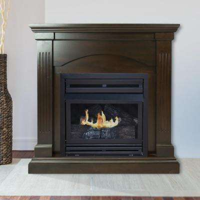 35 in. Convertible Vent-Free Dual Fuel Fireplace in Tobacco