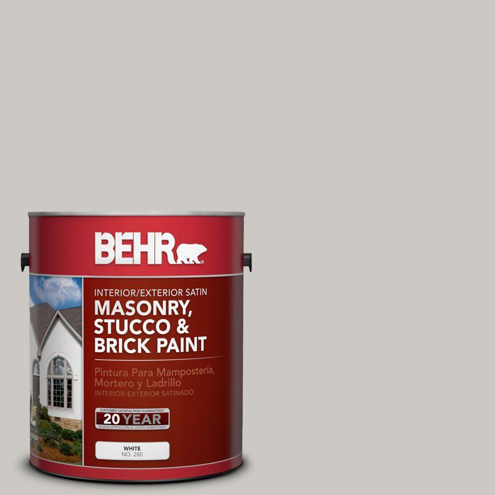 BEHR Premium 1 gal. #MS-79 Silver Gray Pebble Satin Interior/Exterior Masonry, Stucco and Brick Paint