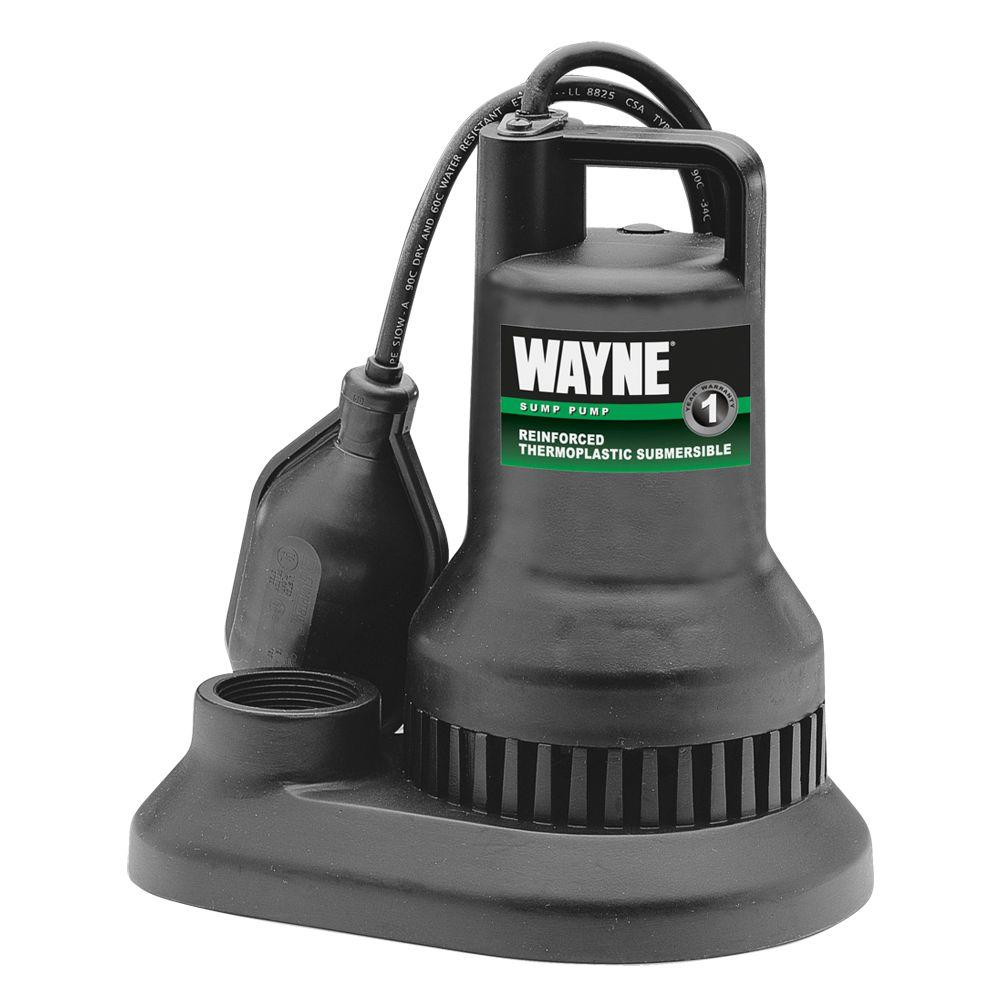 Wayne 3/10 HP Reinforced Thermoplastic Submersible Sump Pump