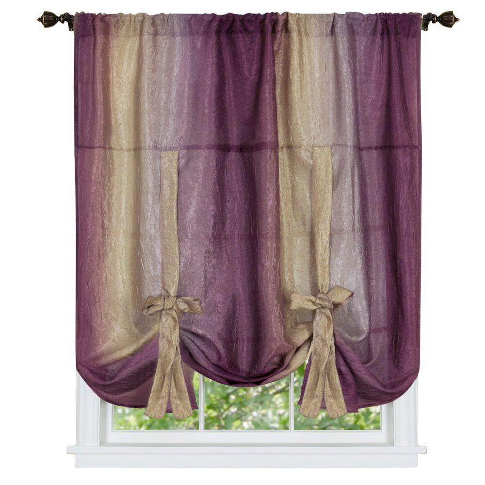 Semi-Opaque Ombre 50 in. W x 63 in. L Tie Up Shade Curtain in Aubergine