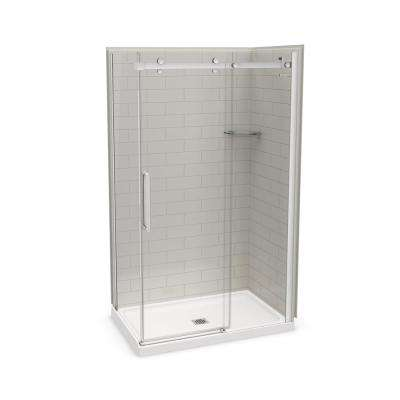 Utile Metro 32 in. x 48 in. x 83.5 in. Center Drain Corner Shower Kit in Soft Grey with Chrome Shower Door