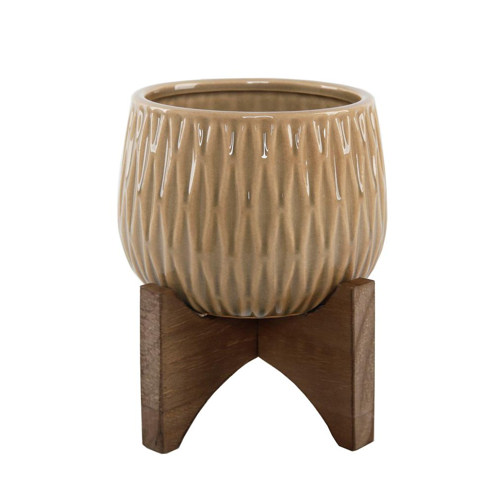 Flora Bunda 5 in. Olive Green Ridge Ceramic Plant Pot on Wood Stand Mid-Century Planter