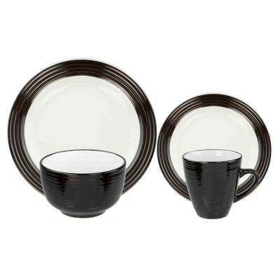 Rockport 16-Piece Black and White Dinnerware Set