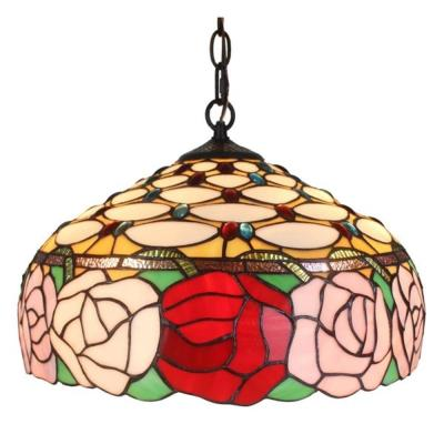 Tiffany Style 2-Light Roses Hanging Pendant Lamp 16 in. Wide