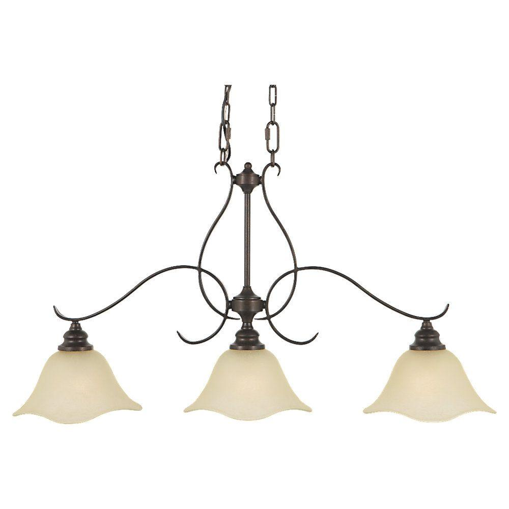 Morningside 3-Light Grecian Bronze Billiard Island Chandelier with Glass Shade