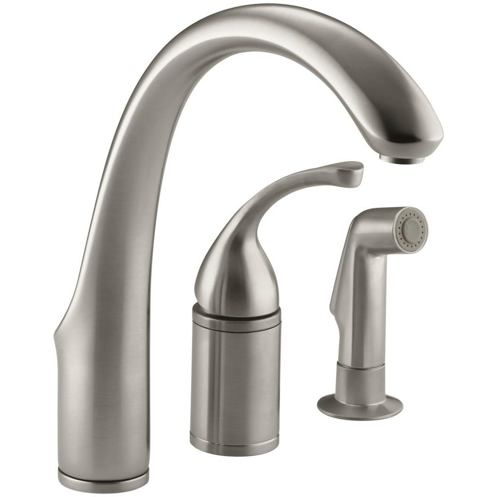 Kohler Forte Single Handle Standard Kitchen Faucet With Side Sprayer In Vibrant Brushed Nickel K 10430 Bn The Home Depot