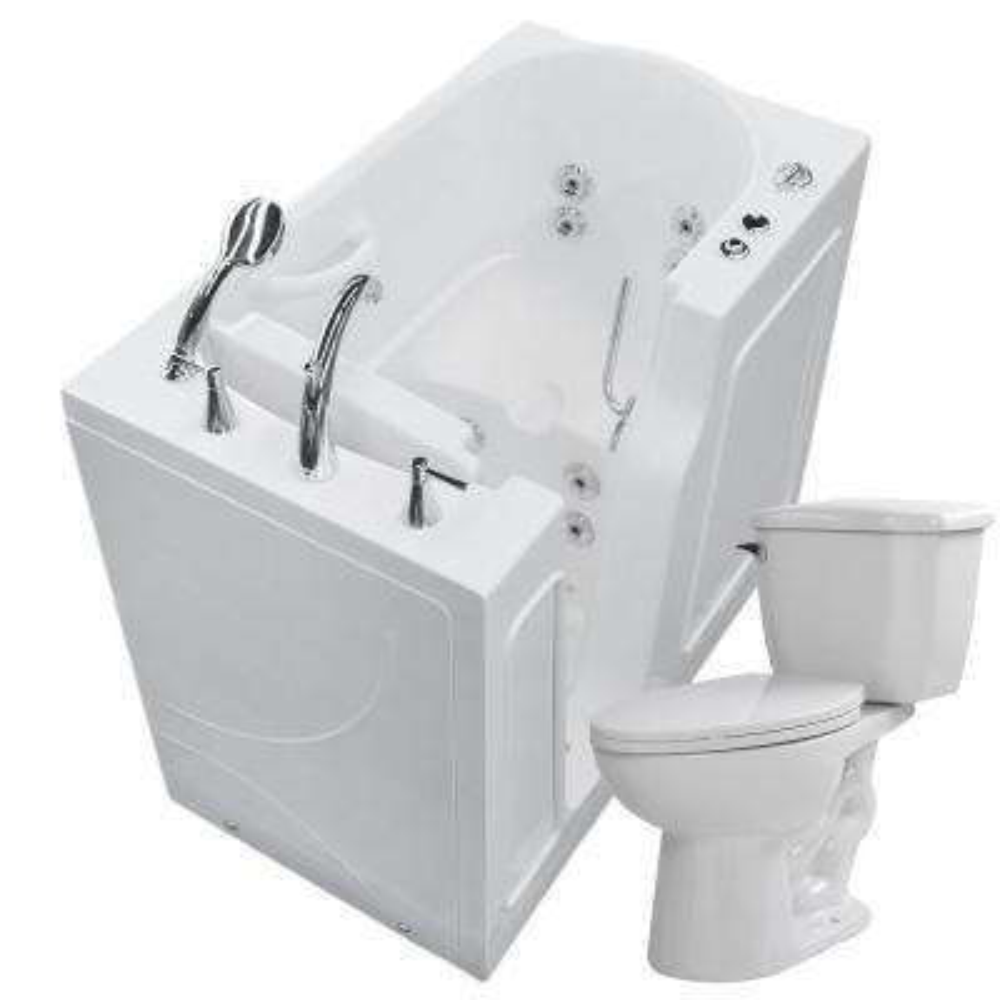 45.75 in. Walk-In Whirlpool Bathtub in White with 1.28 GPF Single Flush Toilet