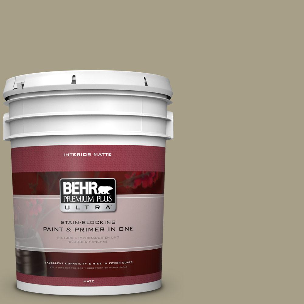 BEHR Premium Plus Ultra 5 gal. #N340-4 Tent Green Matte Interior Paint
