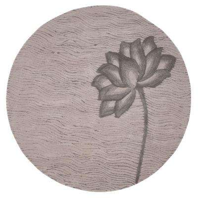 Blooms Grey and Grey 6 ft. Round Area Rug