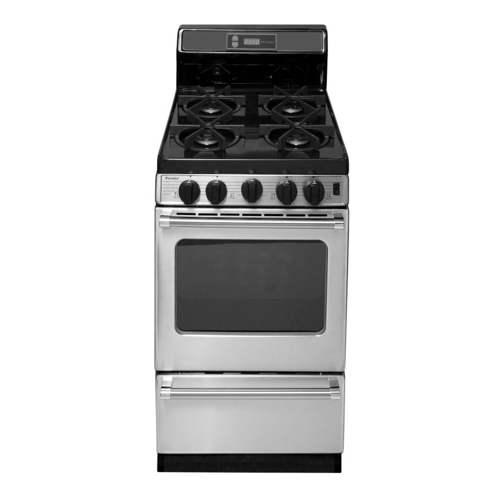 Proseries 20 In 2 42 Cu Ft Freestanding Gas Range With Sealed Burners Stainless Steel