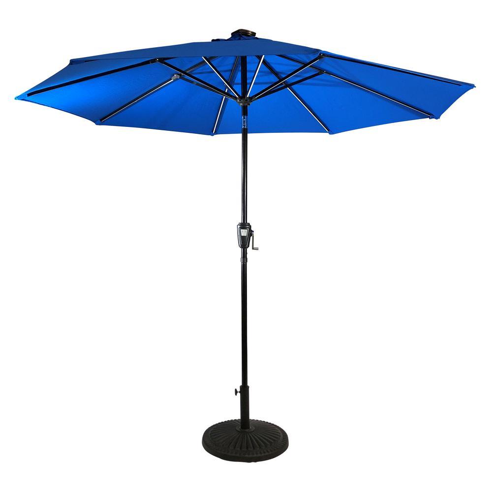 9 ft. Aluminum Market Next Gen Solar Lighted 8-Rib Round Patio Umbrella with Olefin Canopy in Royal Blue