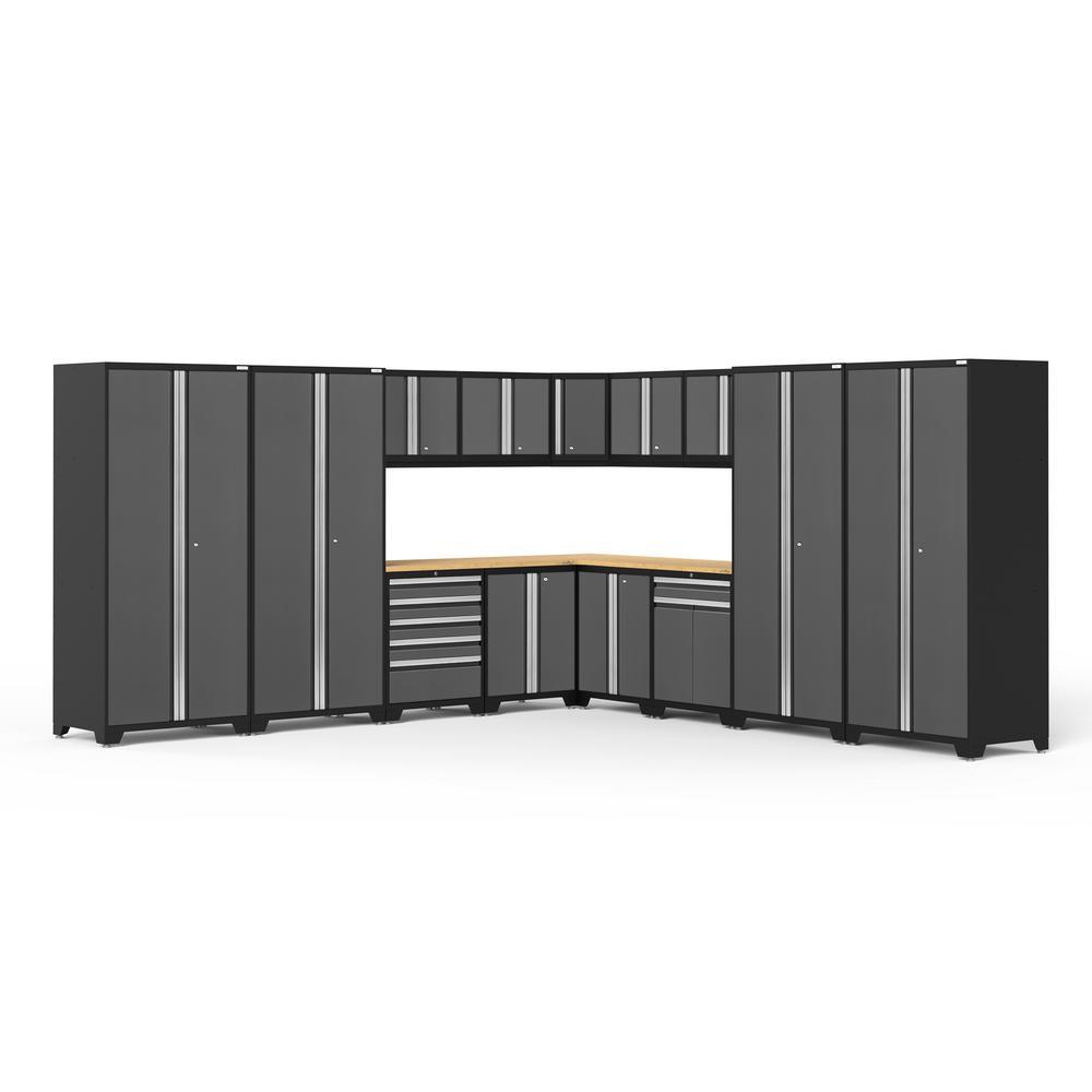 Pro 3.0 256 in. W x 83.25 in. H x 24 in. D 18-Gauge Welded Steel Bamboo Worktop Cabinet Set in Gray (16-Piece)