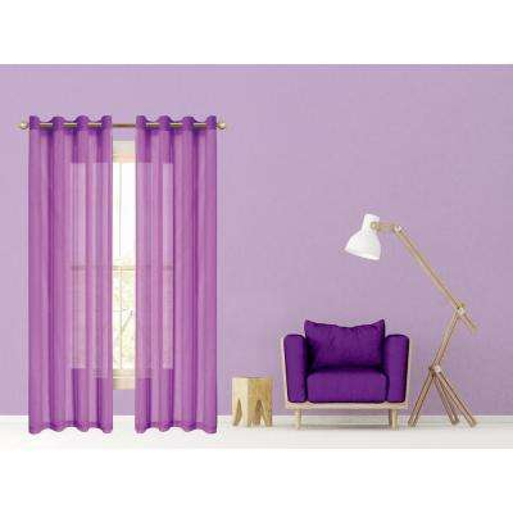 Malibu 55 in. W x 84 in. L Semi-Sheer Window Panel Pair in Purple (2-Pack)