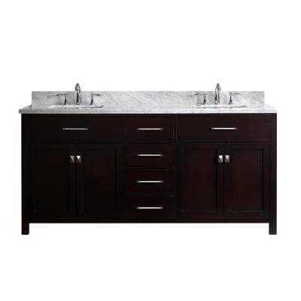 Virtu USA Caroline 72 in. W Bath Vanity in Espresso with Marble Vanity Top in White with Square Basin