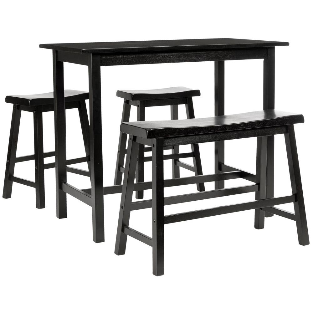 Safavieh Ronin 4 Piece Espresso Bar Table Set